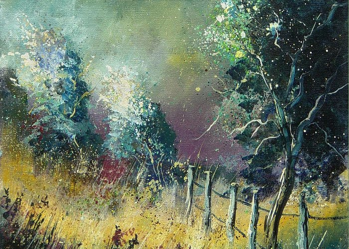 Landscape Greeting Card featuring the painting Light On Trees by Pol Ledent