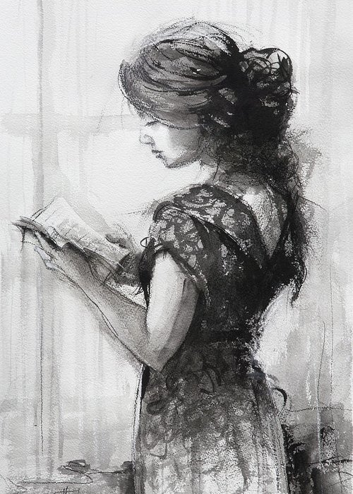 Reading Greeting Card featuring the painting Light Reading by Steve Henderson