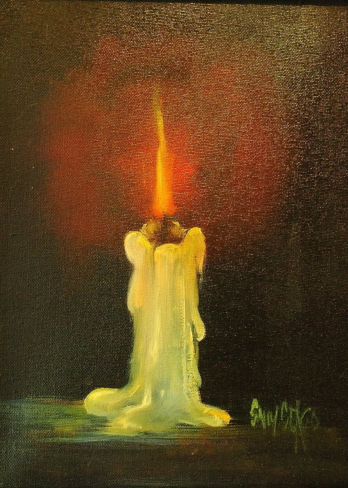 Candles Greeting Card featuring the painting Light The Way by Sally Seago
