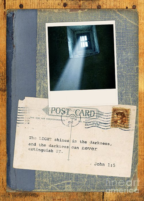 Bible Verse Greeting Card featuring the photograph Light Through Window And Scripture by Jill Battaglia