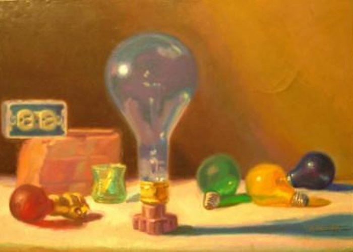 Lightbulbs Greeting Card featuring the painting Lightbulbs Homage To Walter Murch by David Dozier