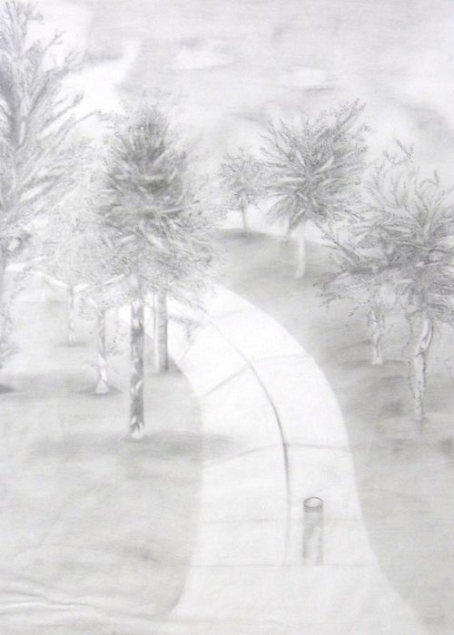 Trees Greeting Card featuring the drawing Lighted Pathway by Katrice Kinlaw