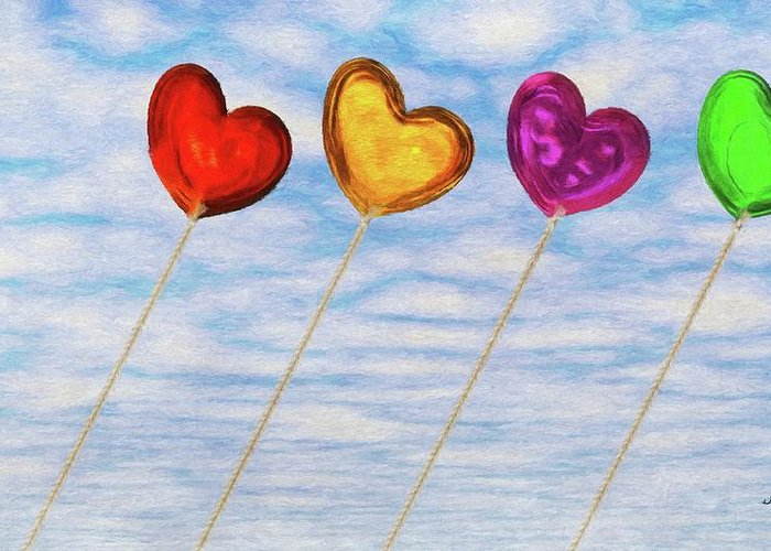 Balloon Greeting Card featuring the painting Lighter Than Air by Jeff Kolker