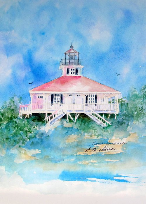 Lighthouse Greeting Card featuring the painting Lighthouse At Boca Grand Island Fl by Ernestine Vicari Stafford