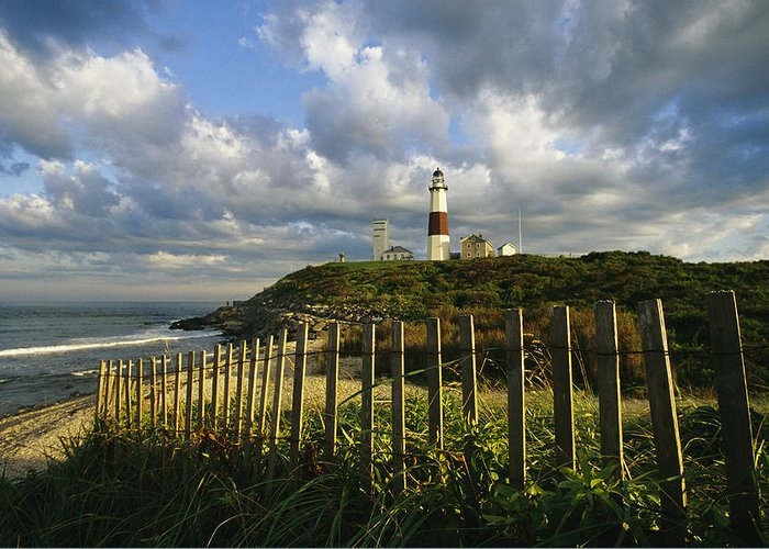 North America Greeting Card featuring the photograph Lighthouse At Montauk With Dramatic Sky by Skip Brown