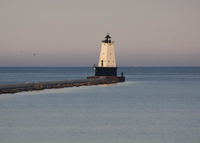 Lighthouse Greeting Card featuring the photograph Lighthouse At Sunset by Chuck Bailey