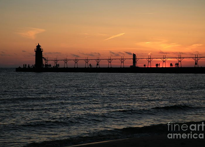 Lighthouse Greeting Card featuring the photograph Lighthouse At Sunset by Timothy Johnson