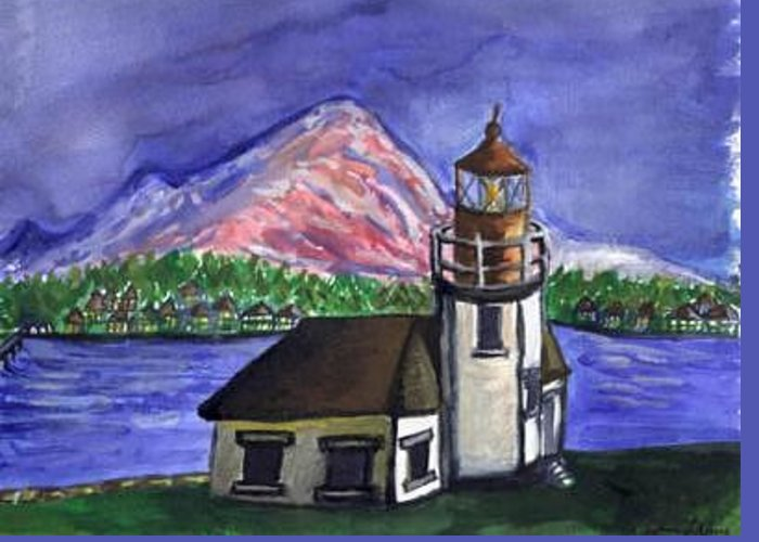 Lighthouse Greeting Card featuring the painting Lighthouse by Caroline Lifshey