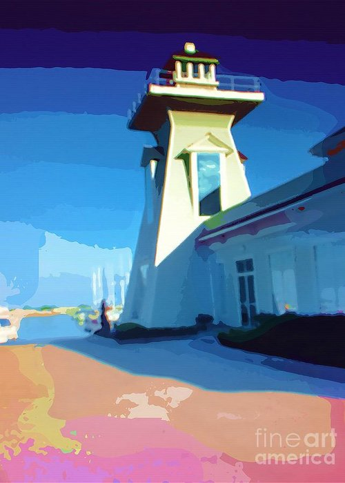 Pastels Lighthouse Greeting Card featuring the painting Lighthouse by Deborah MacQuarrie-Selib