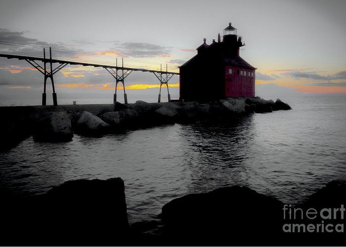 Door County Greeting Card featuring the photograph Lighthouse Haze by Ever-Curious Photography