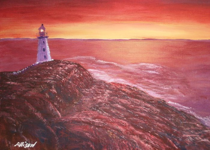 Lighthouse Paintings Greeting Card featuring the painting Lighthouse In Newfoundland by Allison Prior