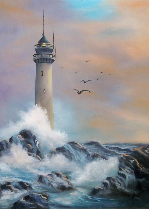 Lighthouse Greeting Card featuring the painting Lighthouse by Joni McPherson