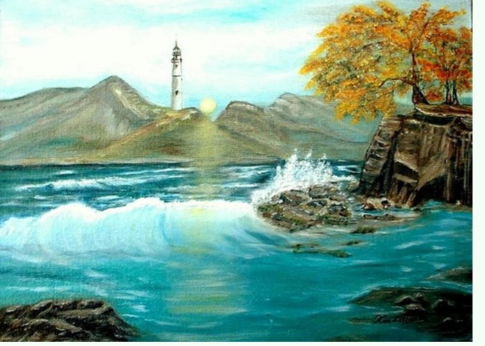 Lighthouse Ocean Painting Rocks Trees Greeting Card featuring the painting Lighthouse by Kenneth LePoidevin