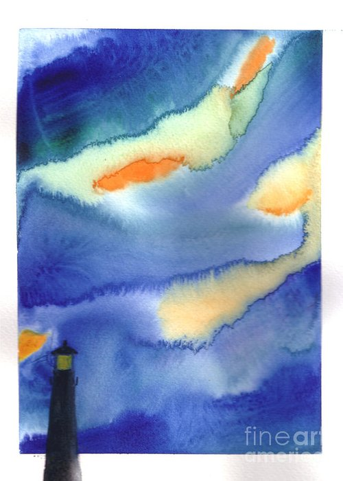 A Lighthouse In A Beautiful Stormy Night. This Is A Contemporary Watercolor Painting. Greeting Card featuring the painting Lighthouse by Mui-Joo Wee