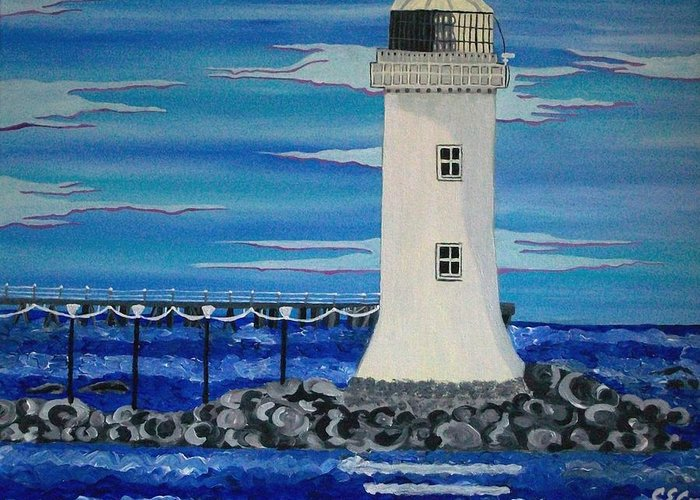 Lighthouse Greeting Card featuring the painting Lighthouse On The Shannon by Carolyn Cable