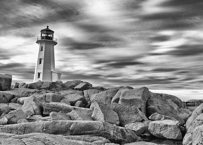 Canada Greeting Card featuring the photograph Lighthouse Peggys Cove - Black And White by Andre Distel