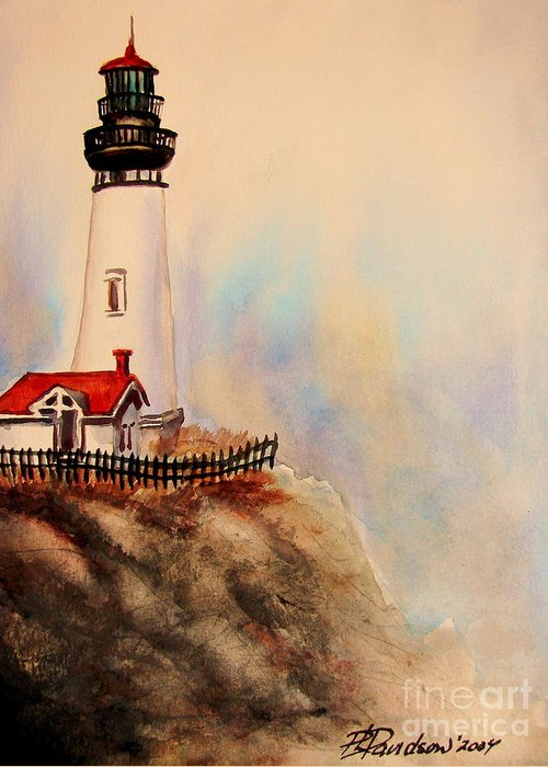 Lighthouse Greeting Card featuring the painting Lighthouse Point by Patricia L Davidson