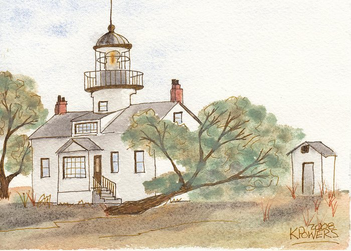 Lighthouse Greeting Card featuring the painting Lighthouse Sketch by Ken Powers