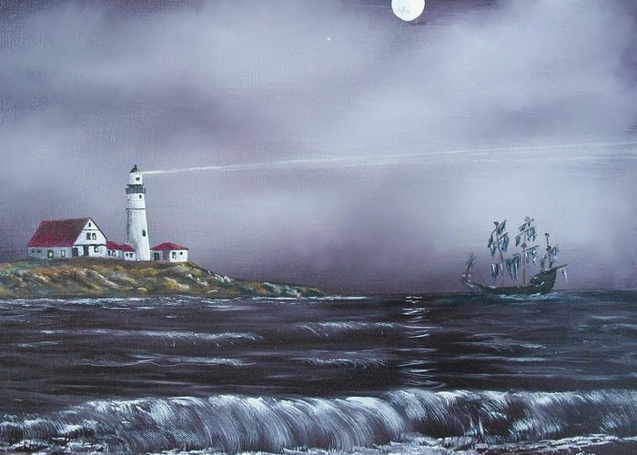 Seascape Greeting Card featuring the painting Lighthouse by Tony Rodriguez