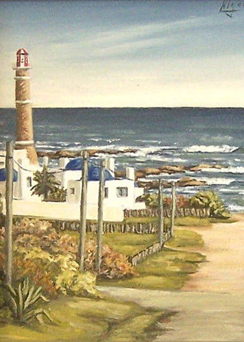 Lighthouse Seascape Sea Water Uruguay Greeting Card featuring the painting Lighthouse Uruguay by Natalia Tejera