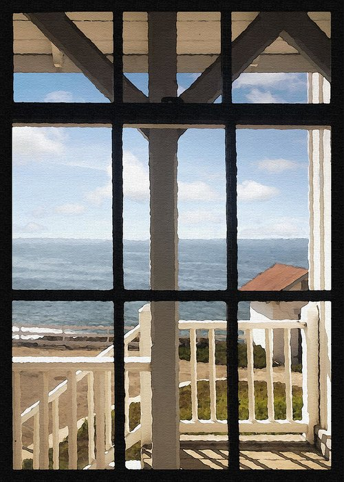 Architecture Greeting Card featuring the photograph Lighthouse Window by Sharon Foster