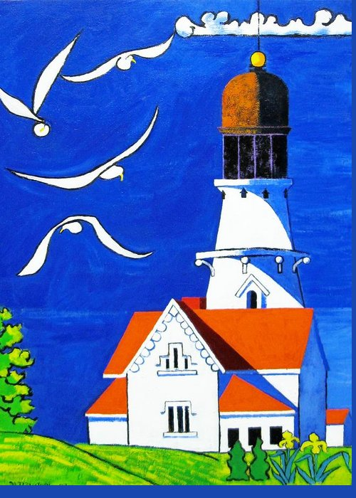 Lighthouse Greeting Card featuring the painting Lighthouse With Seagull by Nicholas Martori