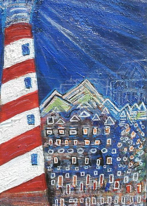 Lighthouse Greeting Card featuring the painting Lighting Up The Town by Anne-Elizabeth Whiteway