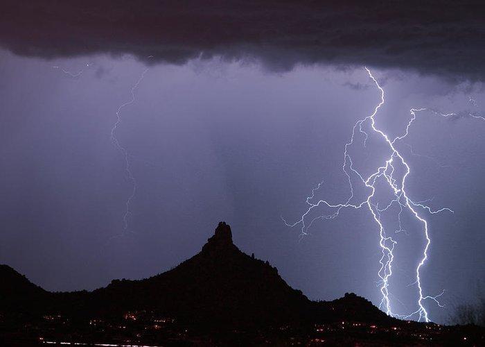 Arizona Greeting Card featuring the photograph Lightnin At Pinnacle Peak Scottsdale Arizona by James BO Insogna