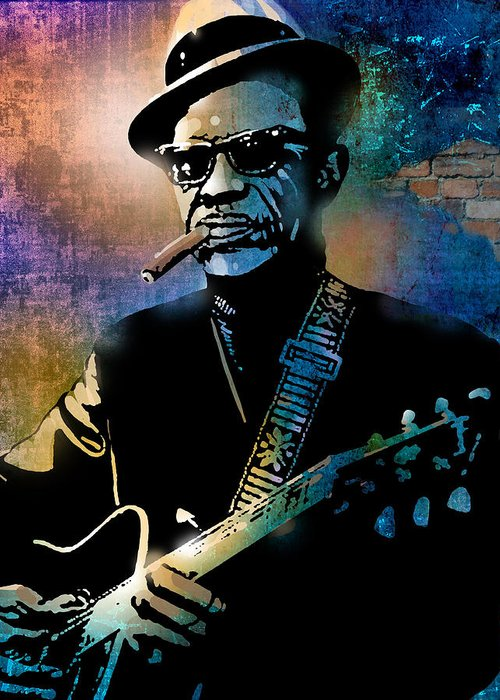 Blues Greeting Card featuring the painting Lightnin Hopkins by Paul Sachtleben