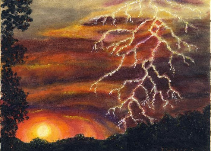 Lightning At Sunset Painted In Vibrant Colors Greeting Card featuring the painting Lightning At Sunset by Tanna Lee M Wells