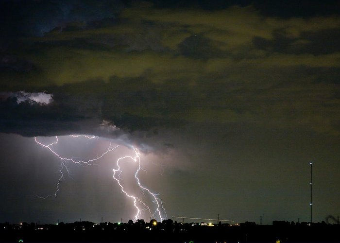 Colorado Lightning Storm Greeting Card featuring the photograph Lightning Man In The Clouds by James BO Insogna