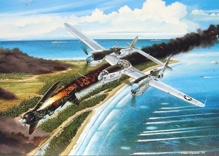 Aviation Greeting Card featuring the painting Lightning Over Mindoro by Marc Stewart