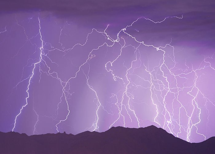 Lightning Greeting Card featuring the photograph Lightning Over The Mountains by James BO Insogna