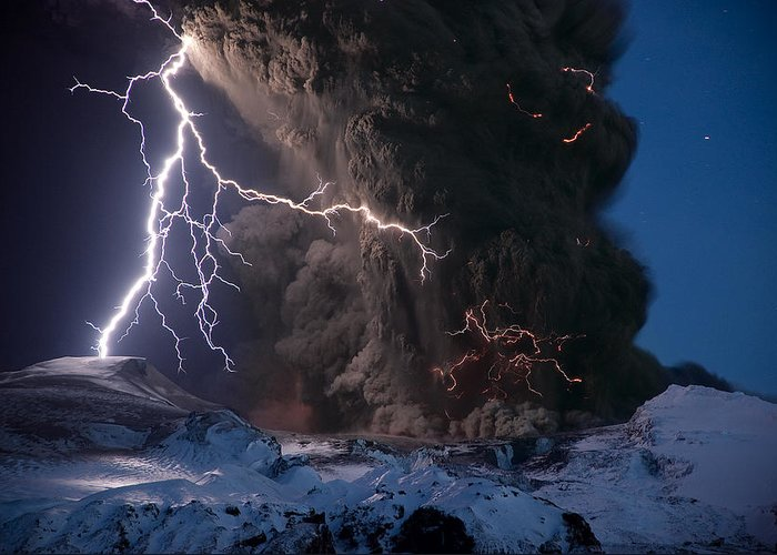 Europe Greeting Card featuring the photograph Lightning Pierces The Erupting by Sigurdur H Stefnisson