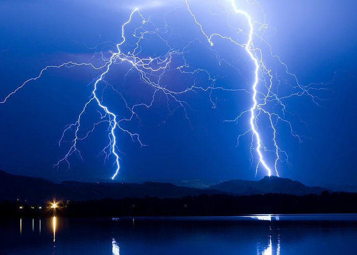 Lightning Greeting Card featuring the photograph Lightning Storm 08.05.09 by James BO Insogna