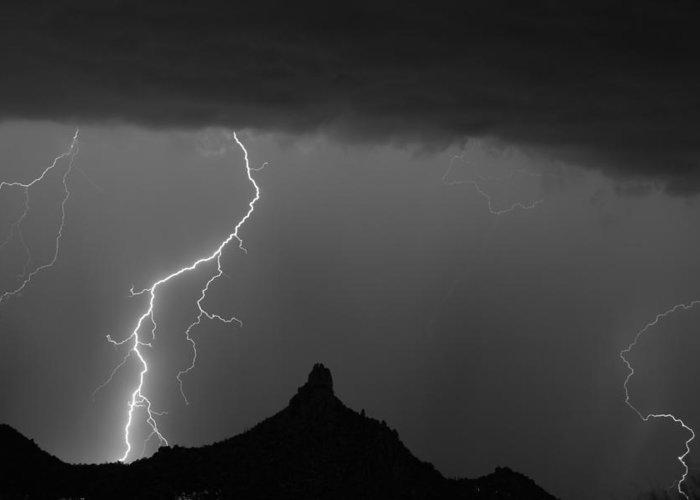 Pinnacle Peak Lightning Greeting Card featuring the photograph Lightning Storm At Pinnacle Peak Scottsdale Az Bw by James BO Insogna