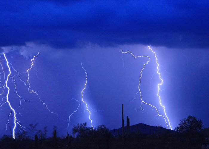 Lightning Greeting Card featuring the photograph Lightning Storm In The Desert Fine Art Photography Print by James BO Insogna