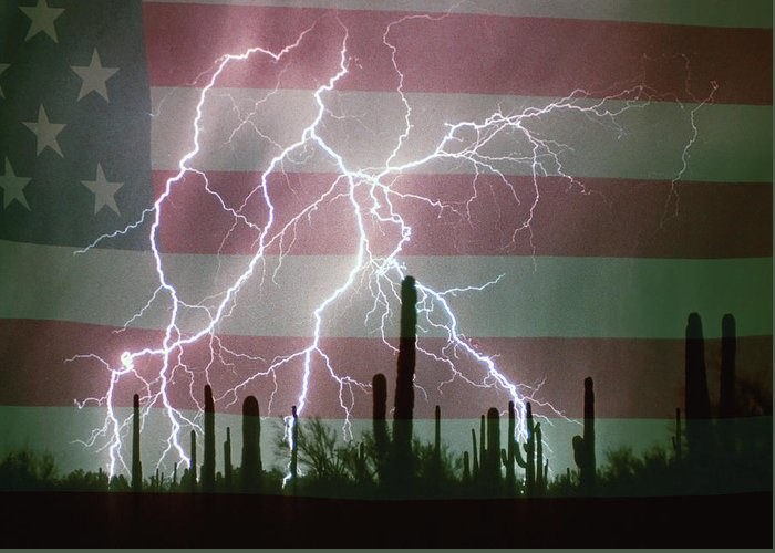 Americano Greeting Card featuring the photograph Lightning Storm In The Usa Desert Flag Background by James BO Insogna