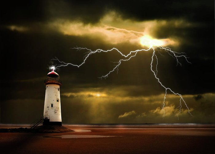 Lighthouse Greeting Card featuring the photograph Lightning Storm by Meirion Matthias