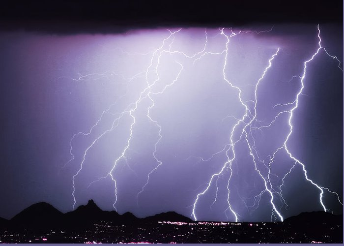 Insogna Greeting Card featuring the photograph Lightning Storm North Scottsdale Az 85255 by James BO Insogna