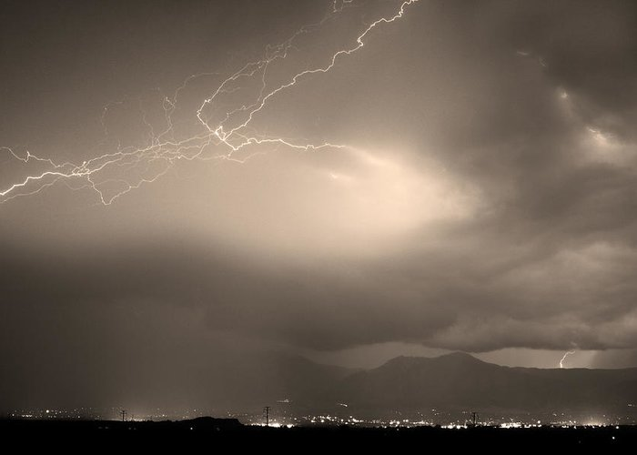 Lightning Greeting Card featuring the photograph Lightning Strikes Over Boulder Colorado Sepia by James BO Insogna