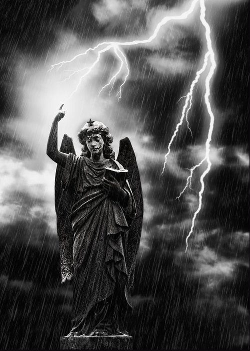 Religion Greeting Card featuring the photograph Lightning Strikes The Angel Gabriel by Amanda Elwell