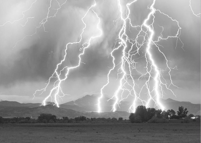 Foothills Greeting Card featuring the photograph Lightning Striking Longs Peak Foothills 4cbw by James BO Insogna