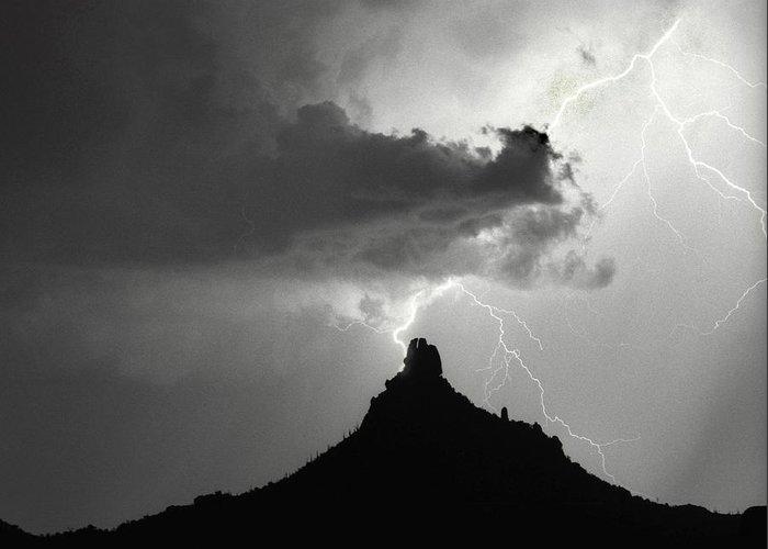 Pinnacle Peak Greeting Card featuring the photograph Lightning Striking Pinnacle Peak Arizona by James BO Insogna