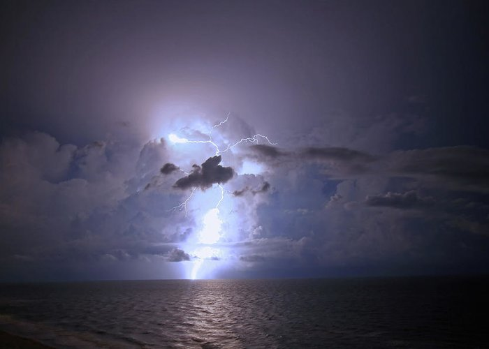 Lightning Greeting Card featuring the photograph Lightning Striking The Gulf by James Jones