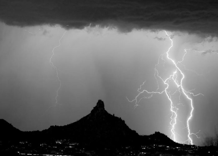 Pinnacle Peak Greeting Card featuring the photograph Lightning Thunderstorm At Pinnacle Peak Bw by James BO Insogna