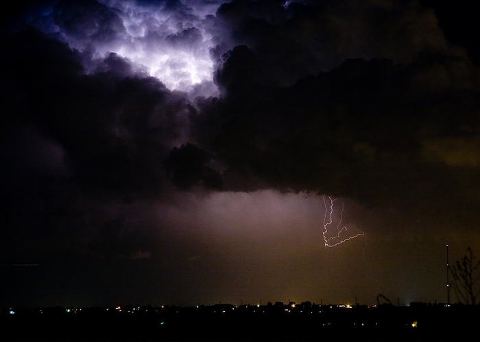 Colorado Lightning Storm Greeting Card featuring the photograph Lightning Thunderstorm Cell 08-15-10 by James BO Insogna