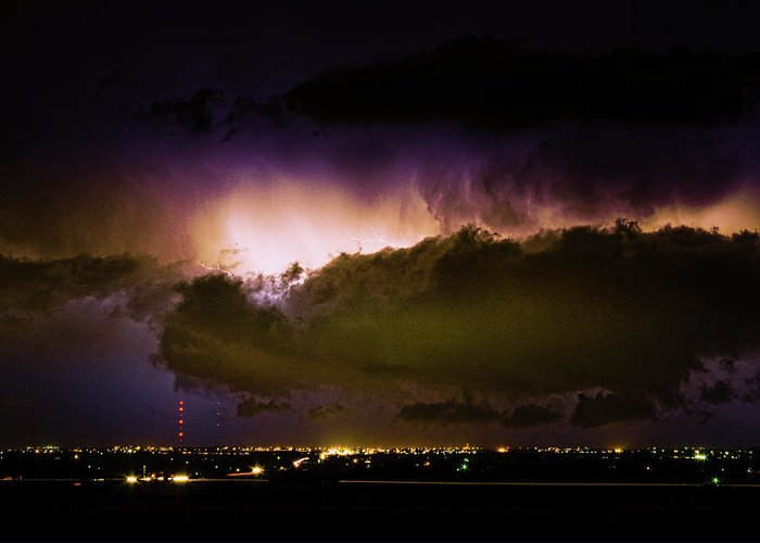 bo Insogna Greeting Card featuring the photograph Lightning Thunderstorm Cloud Burst by James BO Insogna
