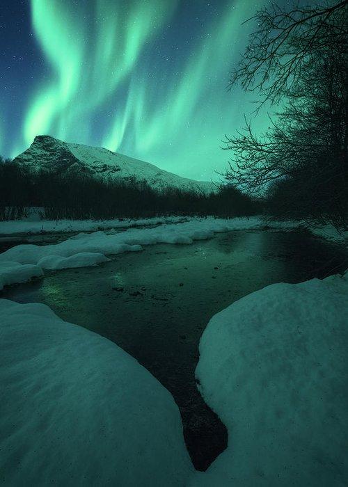 Northern Lights Greeting Card featuring the photograph Lights Above Kjellerkampen by Tor-Ivar Naess