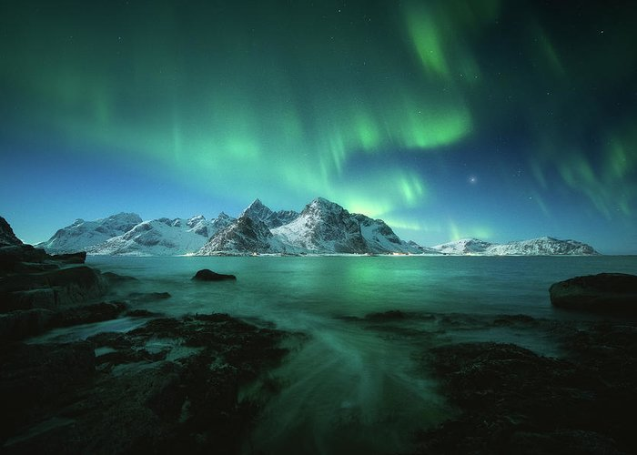 Landscape Greeting Card featuring the photograph Lights Above Lofoten by Tor-Ivar Naess